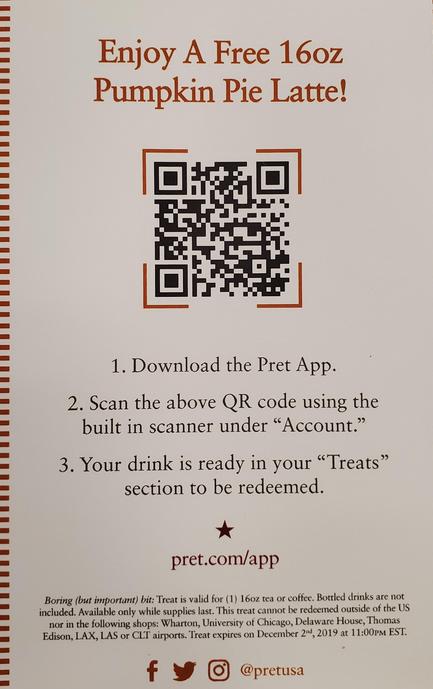 free pret a manger pumpkin spice latte