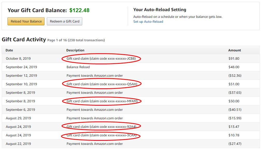 Amazon gift card credits