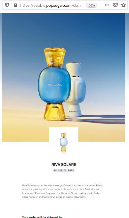 free riva solare bvlgari sample