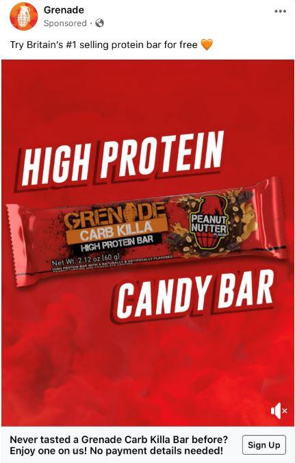 free grenade protein bar sample