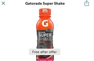 gatorade super shake ibotta freebie