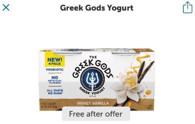 greek gods yogurt 4 pack ibotta freebie