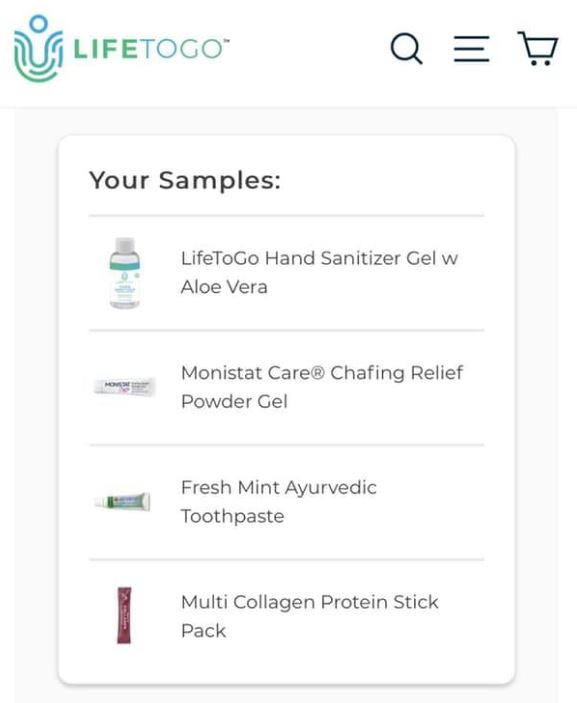 free lifetogo samples