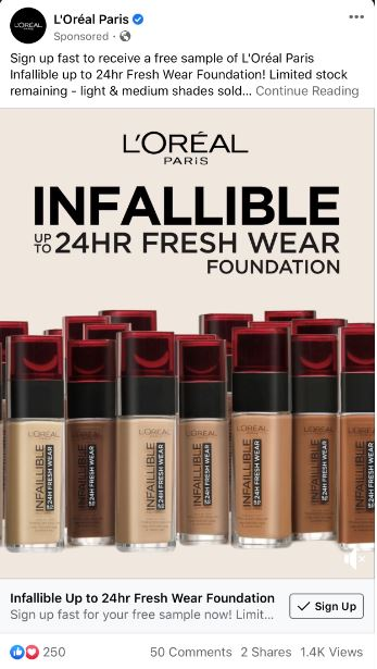 free l'oreal 24hr infallible foundation sample