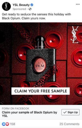 free ysl black opium sample