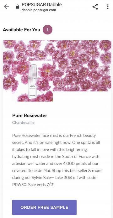 free chantecaille pure rosewater sam