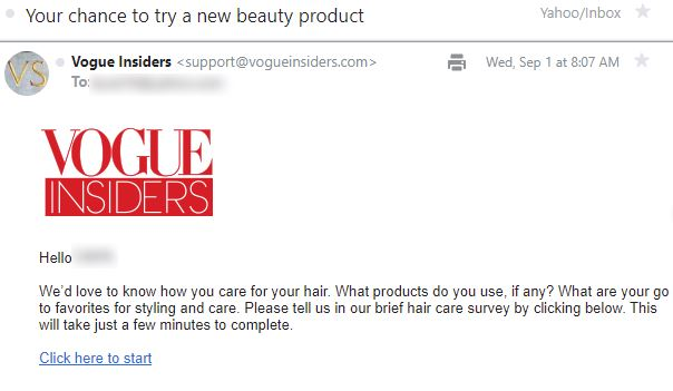 free vogue insiders hair product