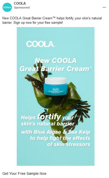 free coola cream barrier sample