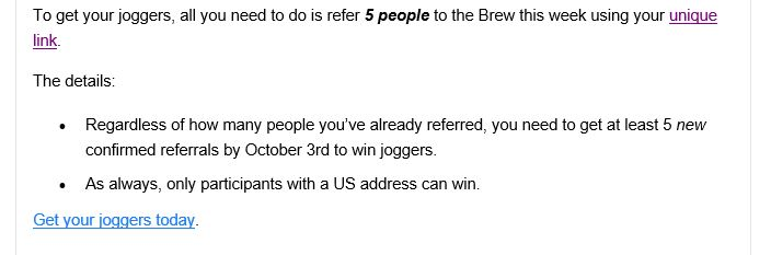 free joggers morning brew
