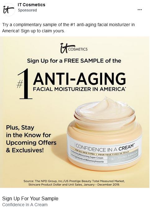 free it cosmetics confience in a cream sample