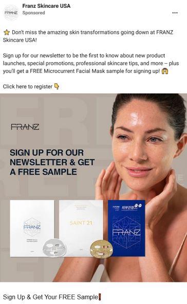 free franz skincare mask