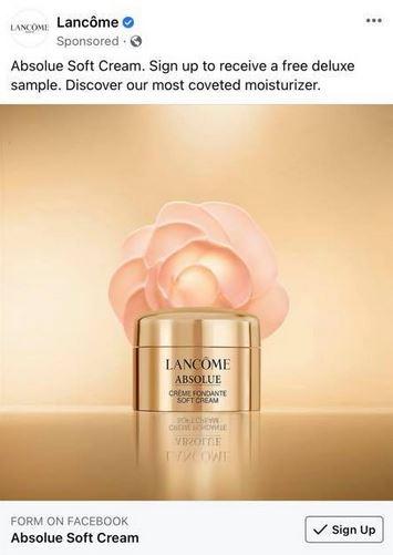 free lancome cream sample