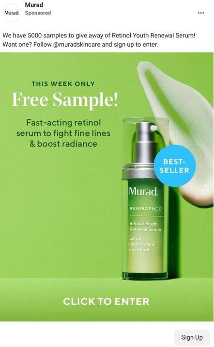 free murad retinol serum sample