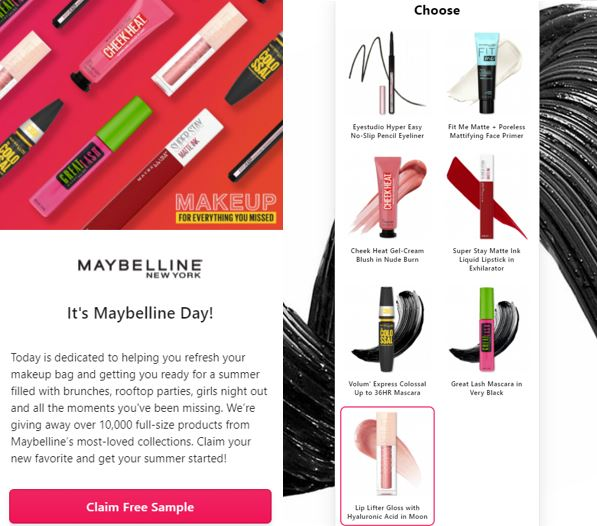 maybelline product free