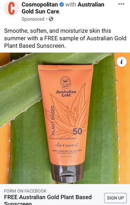 free australian gold plant based sunscreen sample