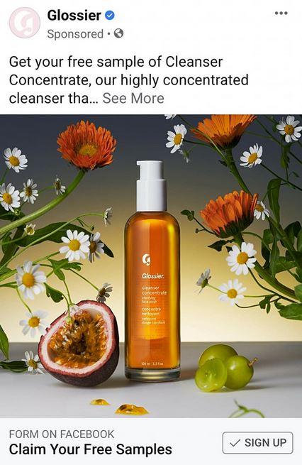 free glossier cleanser sample